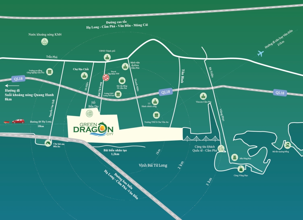 Vị trí khu đô thị TTP Cẩm Phả Green Dragon City