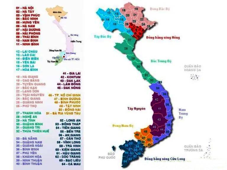 Bản đồ các tỉnh Viet Nam
